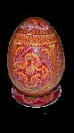 Drewniane jajko malowane na stojaku