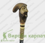 Walking stick bearded man in hat