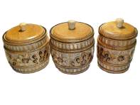 Set of carved barrels