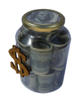 Glass jar with 1 liter of currency